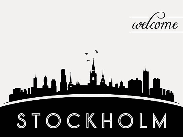 bildbanksillustrationer, clip art samt tecknat material och ikoner med stockholm sweden skyline silhouette black vector design - stockholm