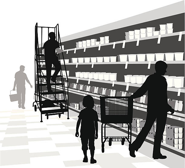 Stocking Shelves A-Digit grocery aisle stock illustrations