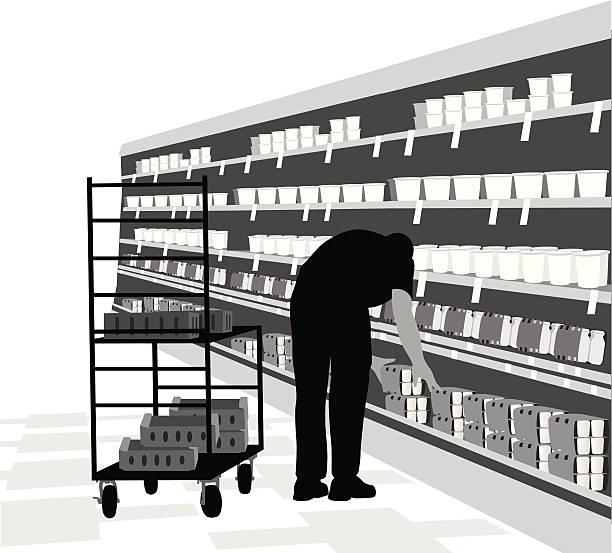ilustrações de stock, clip art, desenhos animados e ícones de stockingshelves - supermarket worker