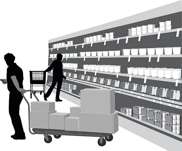 Stocking A-Digit grocery aisle stock illustrations