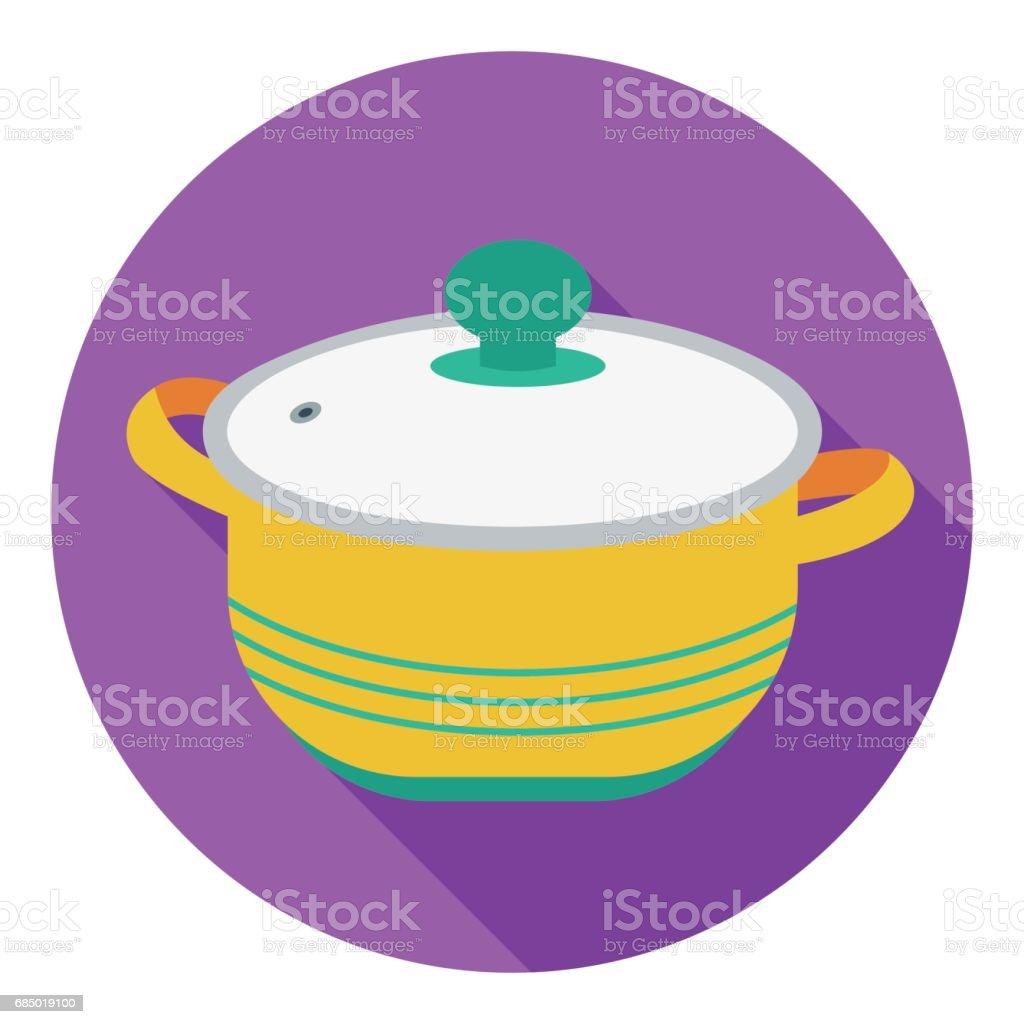 Stockpot icon in flat style isolated on white background. Kitchen symbol stock vector illustration. vector art illustration