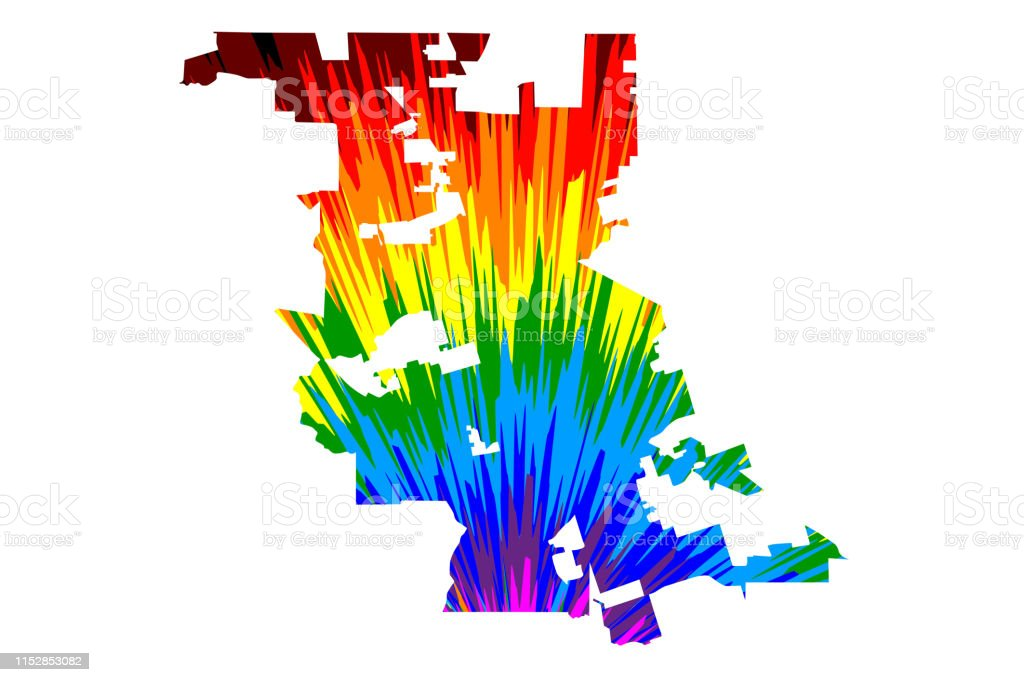 Stockton City Map Is Designed Rainbow Abstract Colorful ...