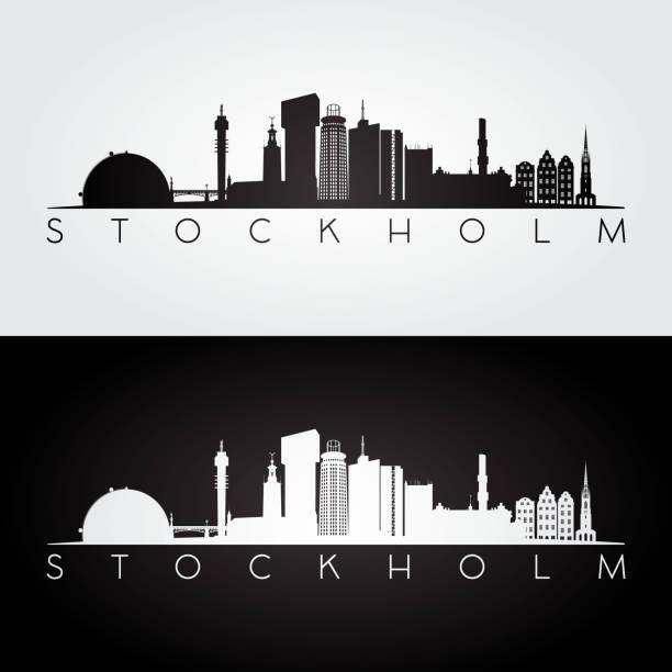 bildbanksillustrationer, clip art samt tecknat material och ikoner med stokholm skyline och sevärdheter siluett, svart och vit design. - skyline stockholm