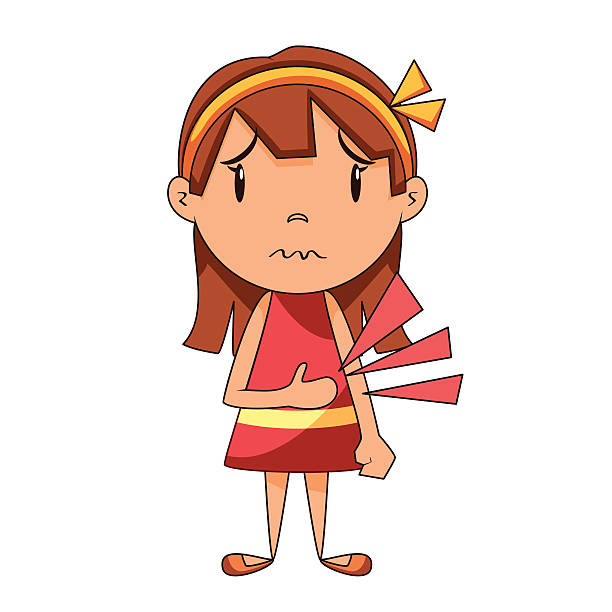 Stomach ache, cartoon, vector illustration Stomach ache, little girl, cartoon character, vector illustration, isolated white background hungry child stock illustrations