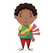 Stomach ache, child, vector illustration