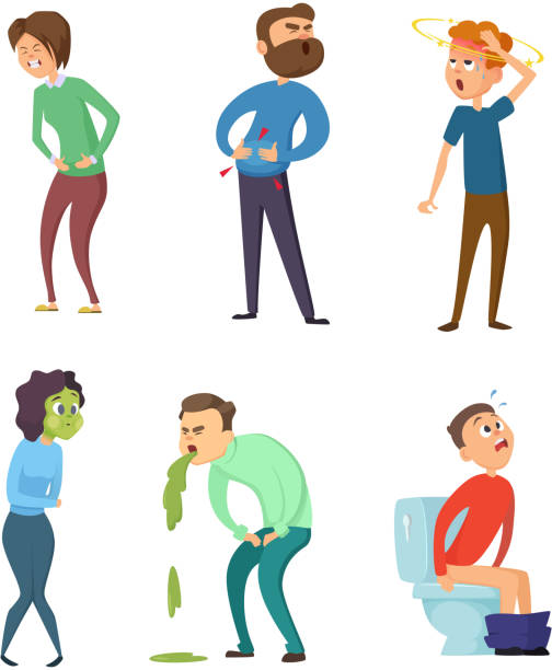 Stomachache poison and diarrhea. Healthcare illustrations. Vector characters set Stomachache poison and diarrhea. Healthcare illustrations. Vector characters set. Illness fever, disease and sickness symptom medical condition stock illustrations