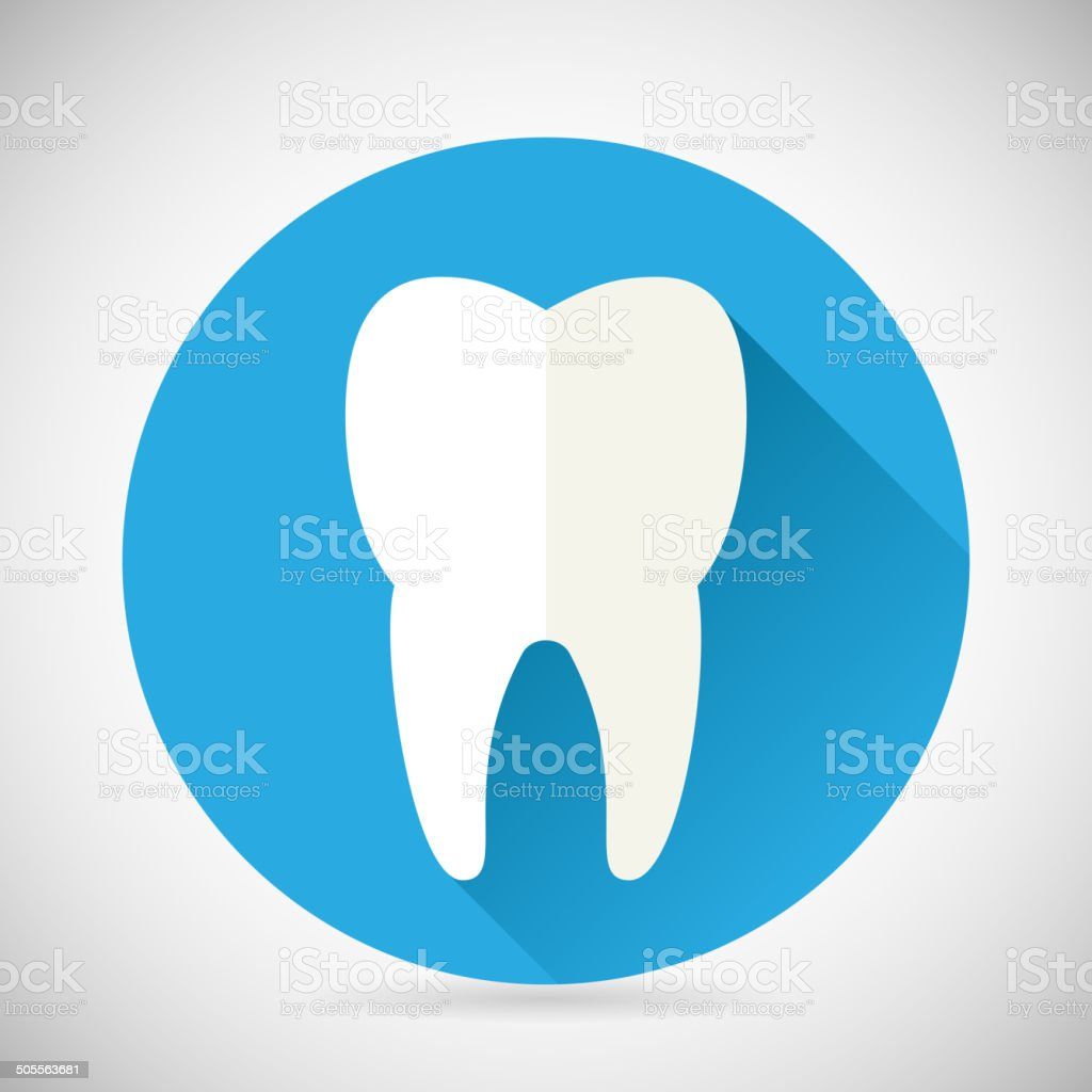 Stomatology and Dental Treatment Symbol Tooth Icon with long shadow vector art illustration