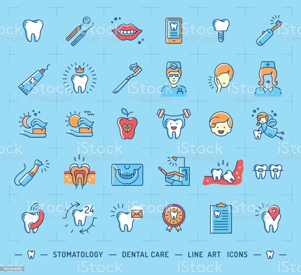 Stomatology icon Dental care logo. Children dentistry thin line icons vector art illustration
