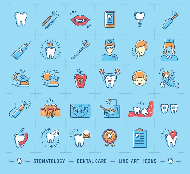 stomatology icon dental care logo. children dentistry thin line icons - dentist stock illustrations, clip art, cartoons, & icons