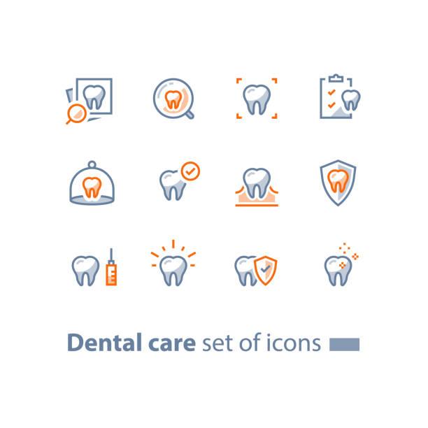 bildbanksillustrationer, clip art samt tecknat material och ikoner med stomatologi tjänster, tandvård, förebyggande kontrollera upp, hygien och behandling, linje ikoner - tandblekning