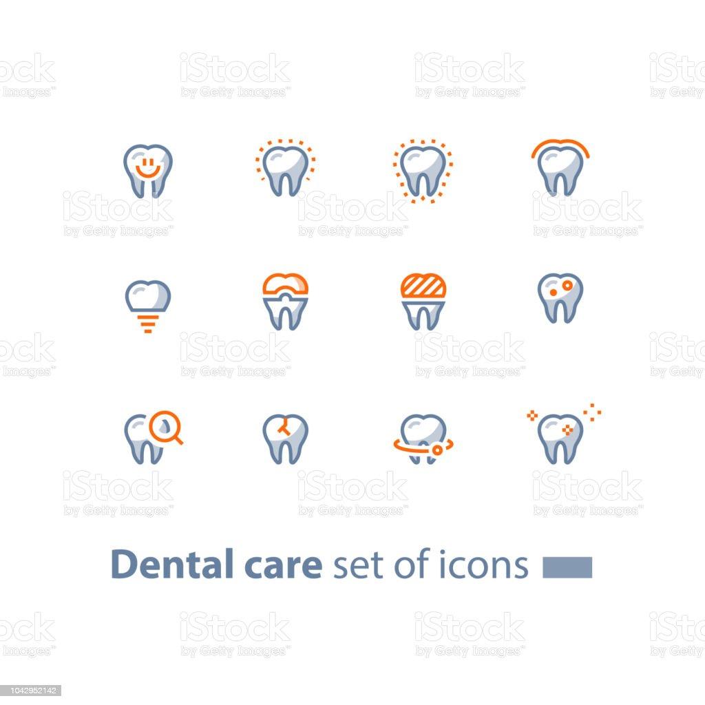 口腔病学サービス、歯科医療、予防検診、歯インプラント、クラウン、線のアイコン ベクターアートイラスト