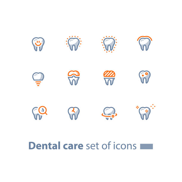 stomatology services, dental care, prevention check up, tooth implant and crown, line icons - dentist logos stock illustrations