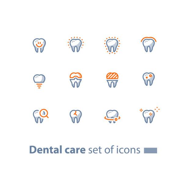 stomatologie dienstleistungen, zahnpflege, prävention check-up, zahnimplantat und krone, linie symbole - zahnarzt logos stock-grafiken, -clipart, -cartoons und -symbole