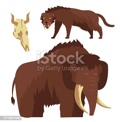 Stone age animals. Mammoth and saber-toothed tiger vector illustration isolated on white background