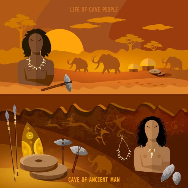 steinzeit-banner. jungsteinzeit, paläolithischen, mesolith, anfang einer zivilisation. caveman kunst. neandertaler in einer höhle auf der jagd nach mammut, prähistorische werkzeug - eiszeit stock-grafiken, -clipart, -cartoons und -symbole