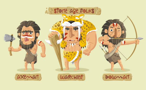 Stone age characters set vector art illustration