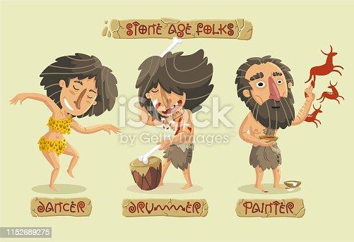 Stone Age arts set: a woman dancing, a drummer playing music and a caveman making rock art.