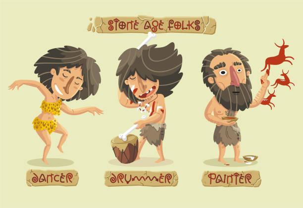 Caracteres de edad de piedra establecidos - ilustración de arte vectorial