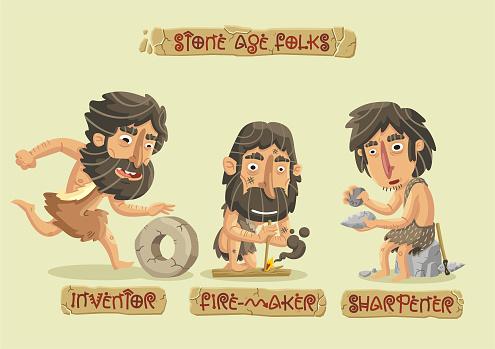 Stone age characters set