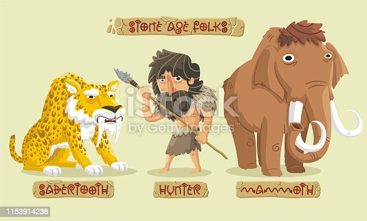 Stone age hunting set: a fierce saber-toothed tiger, a big hairy mammoth and a brave hunter.