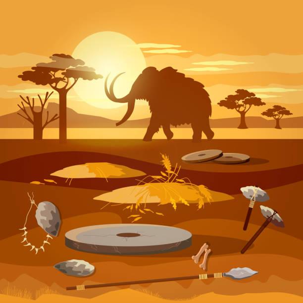steinzeit. jagd auf mammut, prähistorische werkzeug. jungsteinzeit, paläolithischen, mesolith, anfang einer zivilisation. caveman kunst - eiszeit stock-grafiken, -clipart, -cartoons und -symbole