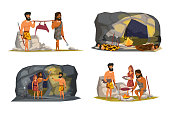 Stone age life scenes vector illustrations set. Primitive people in animal fur flat cartoon characters. Cavemen house interior, exterior drawing. Ancient time hunting, cooking tools, equipment