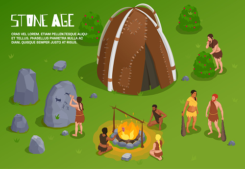 Caveman prehistoric primitive people background with editable text and outdoor stone age scenery with ancient tribe vector illustration
