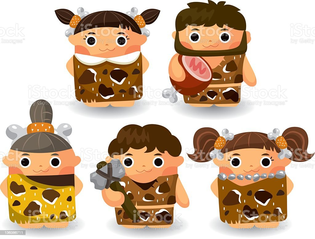 Stone Age people vector art illustration