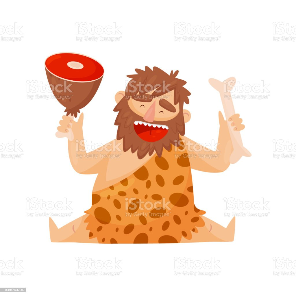 Vetores De Homem Prehistorico Da Idade Da Pedra Com Osso De Carne