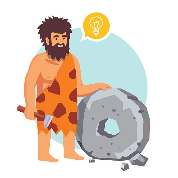 stockillustraties, clipart, cartoons en iconen met stone age primitive man had an idea - uitvinding