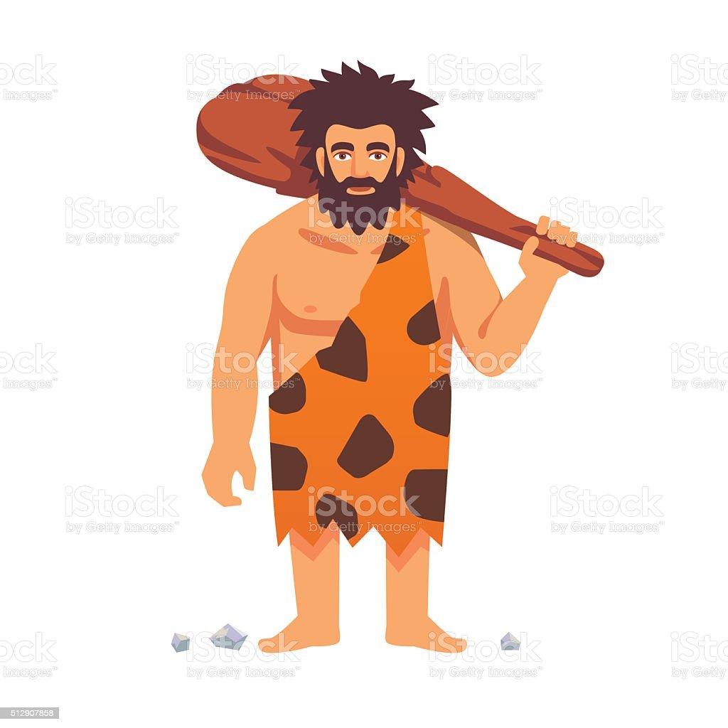 Stone age primitive man in animal hide pelt vector art illustration
