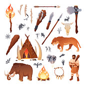 Stone age primitive prehistoric life and people