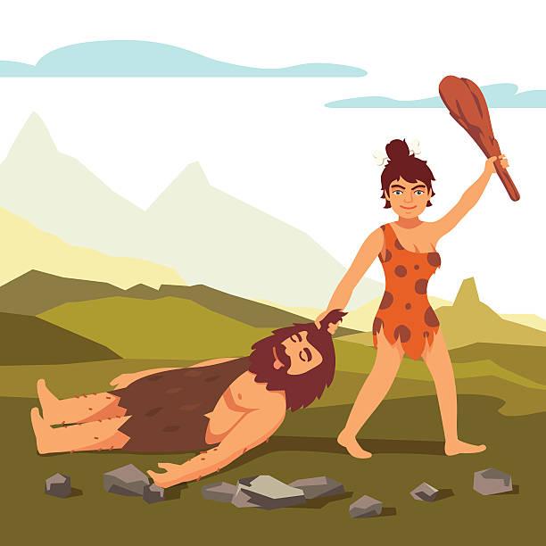 ilustrações de stock, clip art, desenhos animados e ícones de idade da pedra primitivo mulher desenho homem barbudo - puxar cabelos