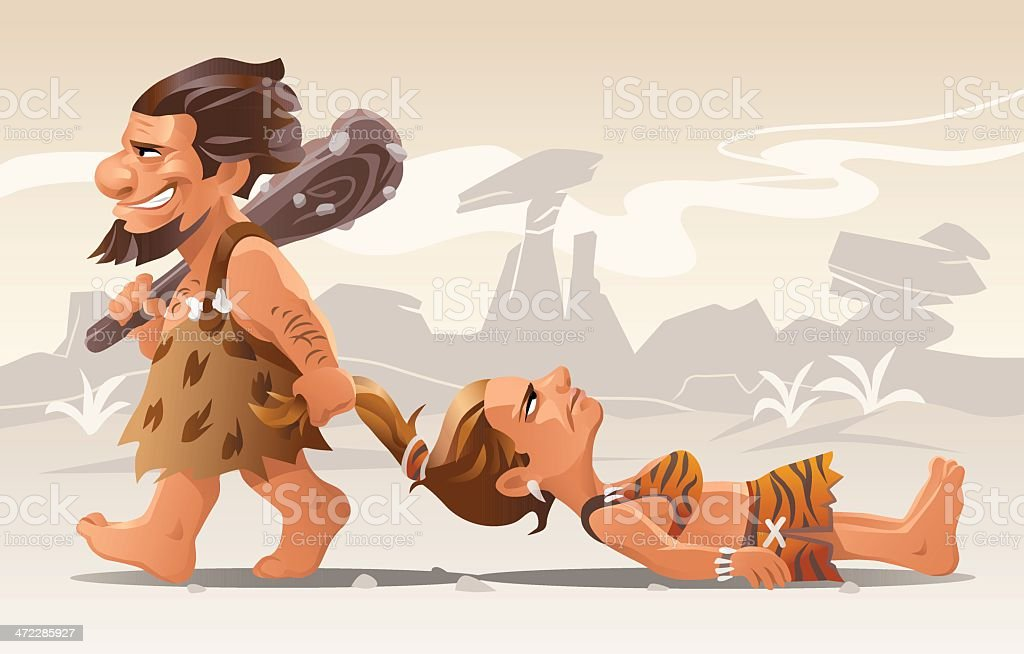 Stone Age Romance vector art illustration