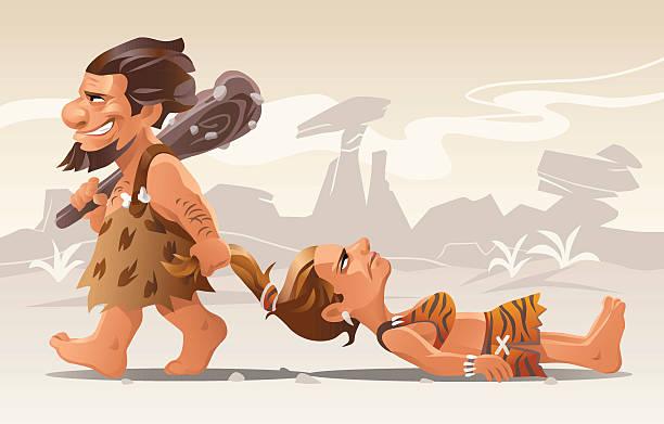 ilustrações de stock, clip art, desenhos animados e ícones de idade da pedra romance - puxar cabelos