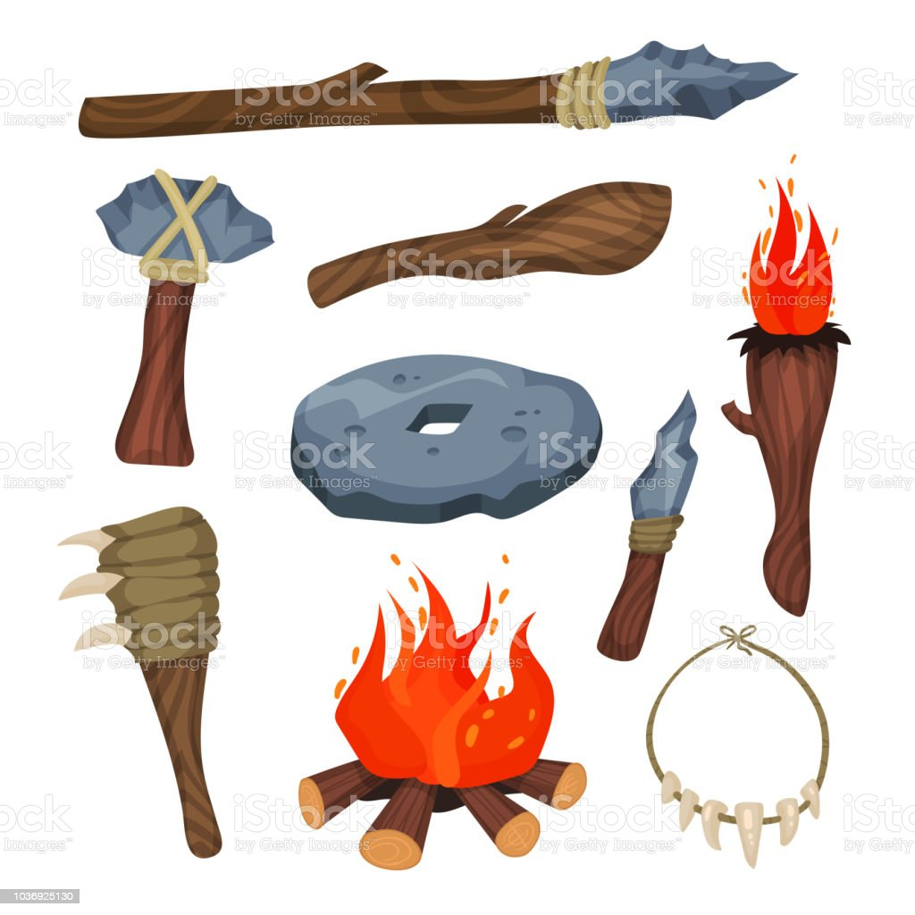 Stone Age symbols set, weapon and tools of caveman vector Illustrations on a white background vector art illustration