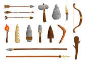 istock Stone age tools set, caveman civilization culture 1283202613