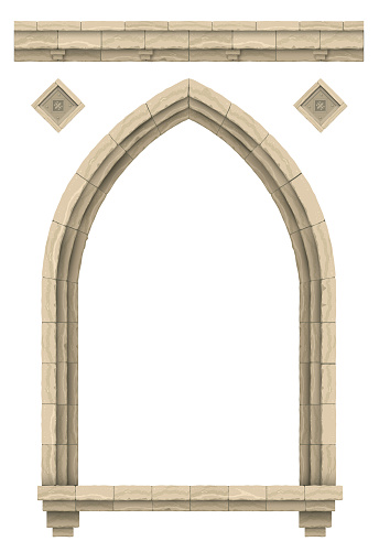 Vector graphics. Template on a white background. Facade application. Stone beige antique gothic castle or temple arch