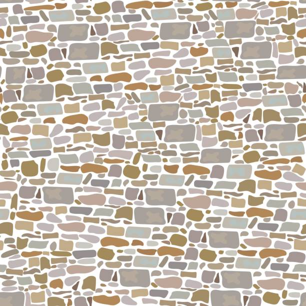 Stone Block Wall, Seamless pattern. Background made of wild bricks. grey, red, sand, yellow, brown, vector art illustration