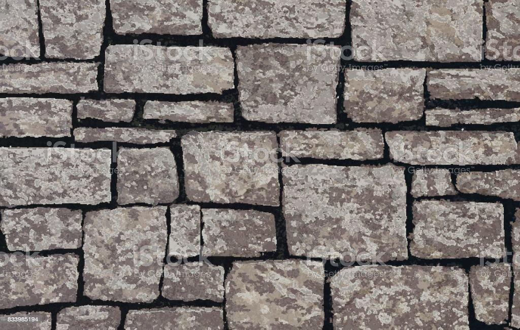 Stone blocks brick wall textured background vector art illustration
