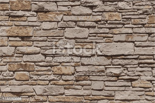 Stone Brick Wall Textured Grunge Background Vector Illustration