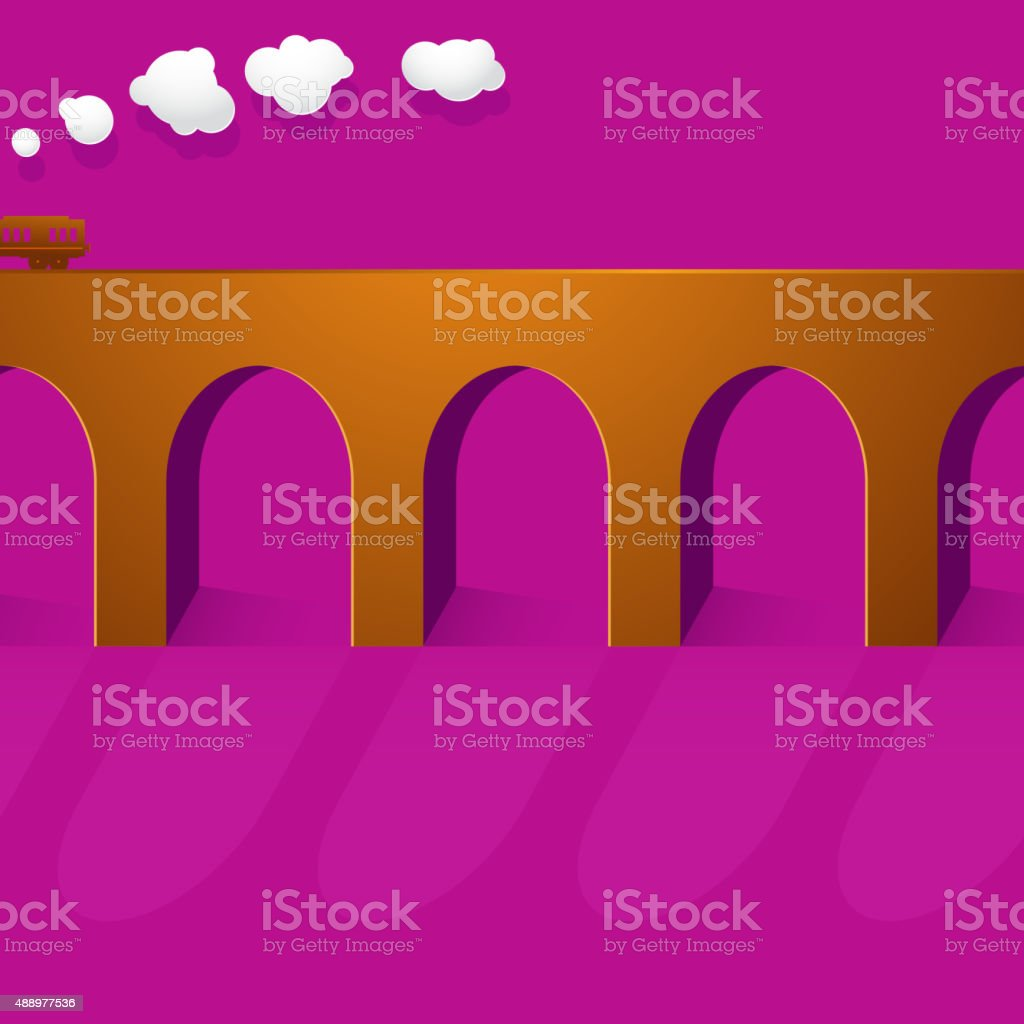 Stone bridge viaduct vector art illustration