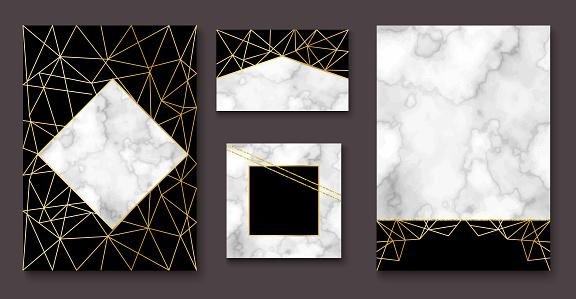 Stone brochure, banner layout set, marble business card or backg