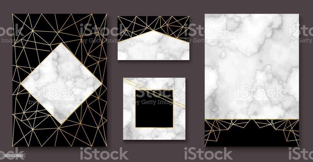 Stone brochure, banner layout set, marble business card or backg vector art illustration