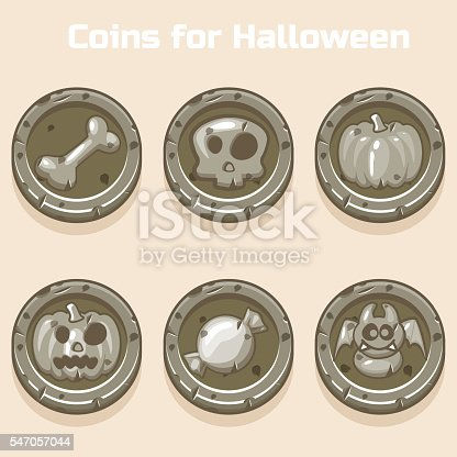 stone coins for Halloween in vector