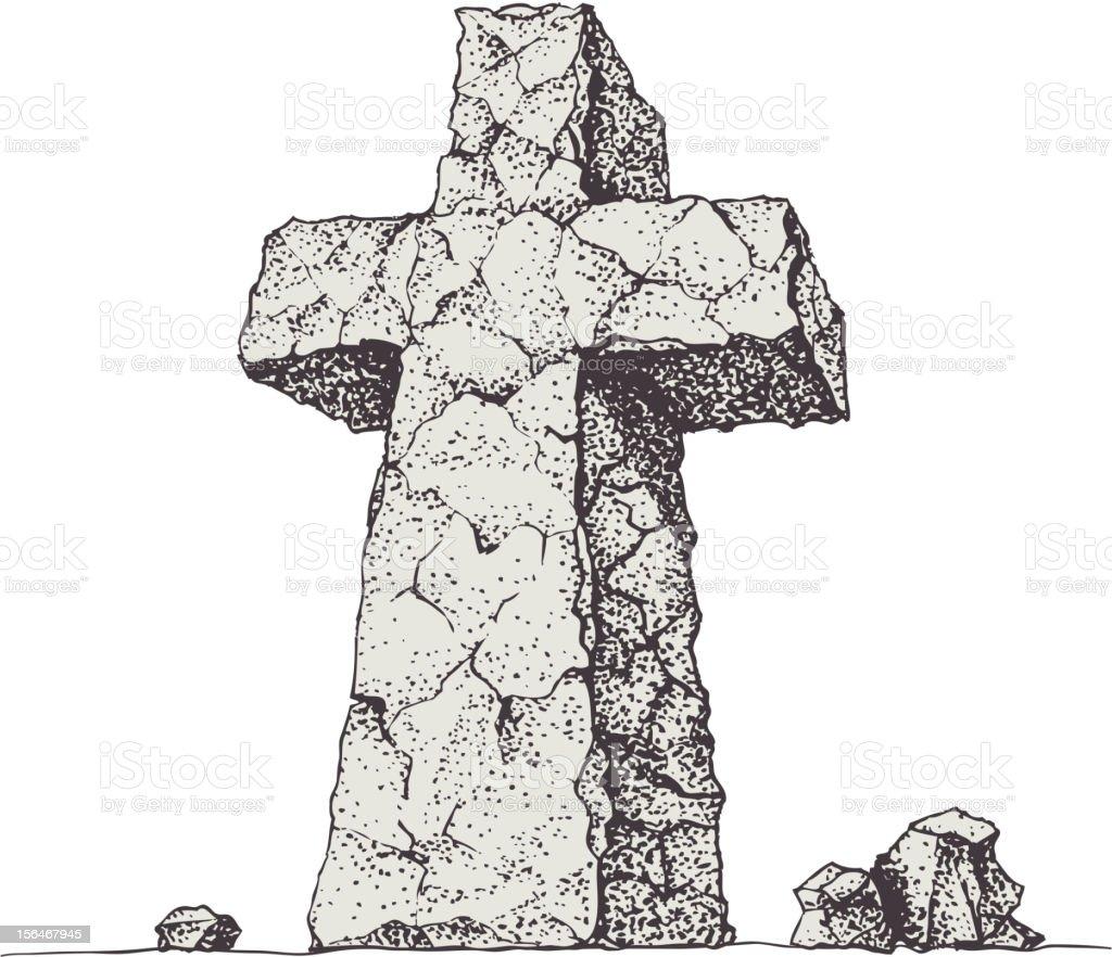 Stone cross royalty-free stock vector art