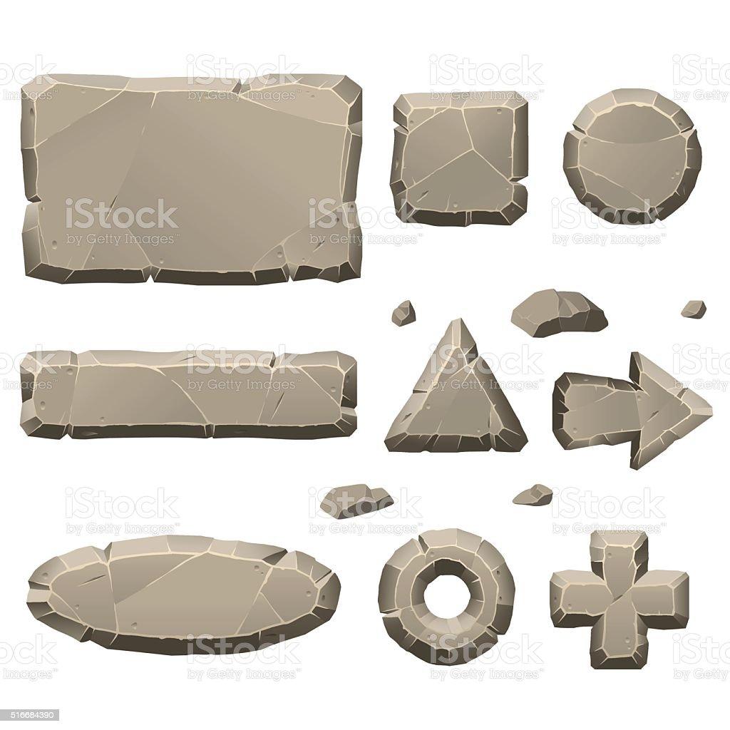 Stone game design elements vector art illustration