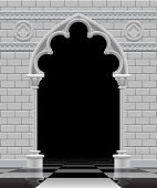 Stone gothic arch and wall in black and white colors on the glossy chess floor. Antique architecture frame and background in shades of gray.  Vector Illustration