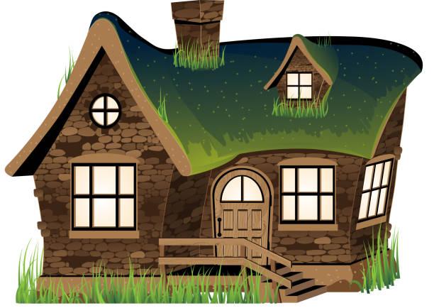 Stone house Small stone house on white background dollhouse stock illustrations