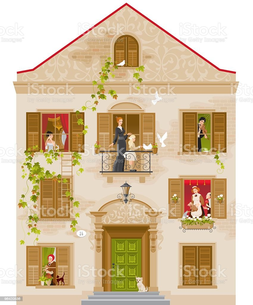Stone house with people in windows vector art illustration